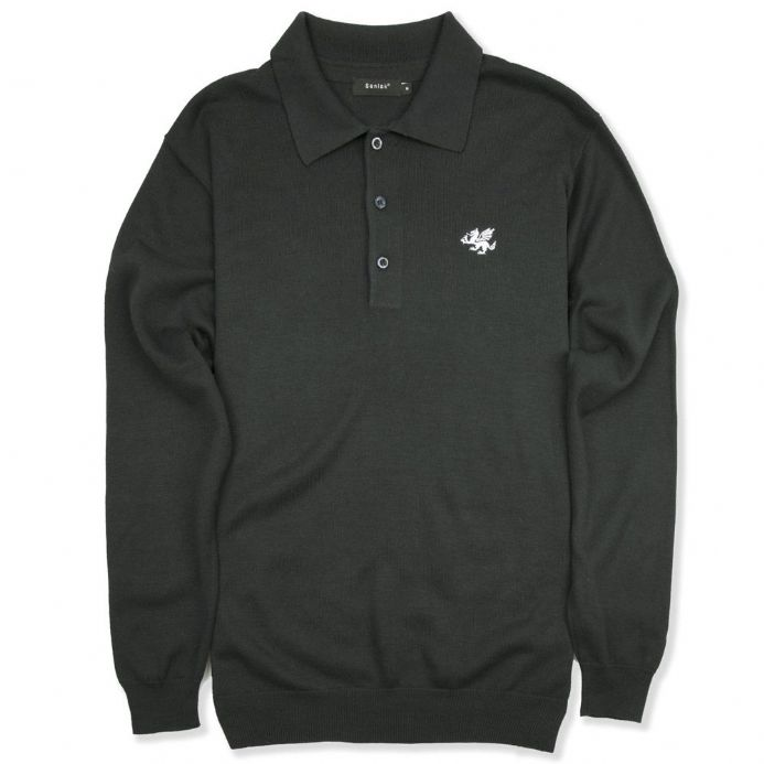 Anglo-Saxon White Dragon Long Sleeved Knitted Polo Shirt - Graphite